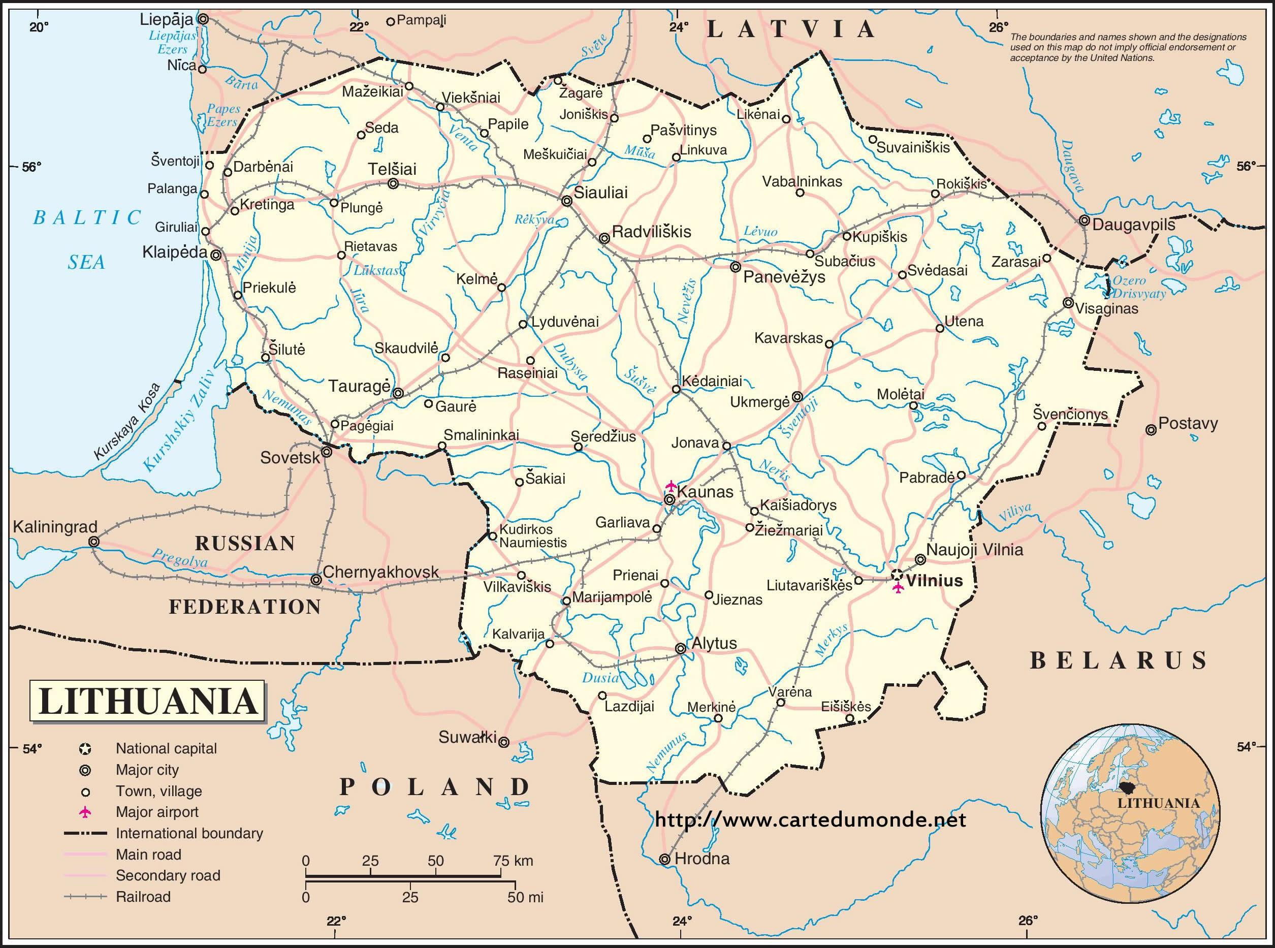 Lithuania country map - Map of Lithuania country (Northern Europe ...