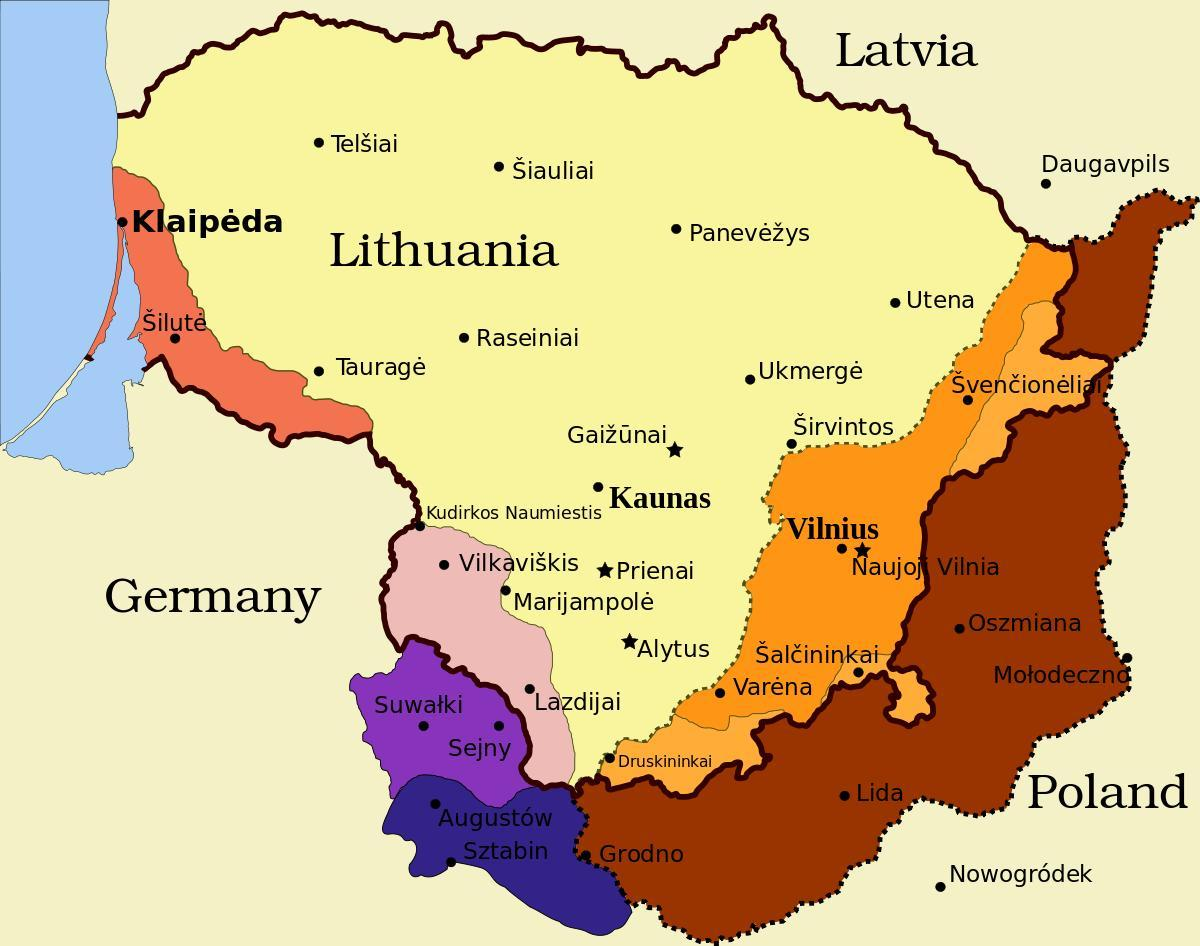 map of kaunas Lithuania