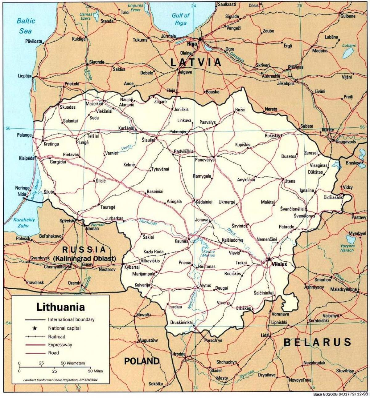 map showing Lithuania
