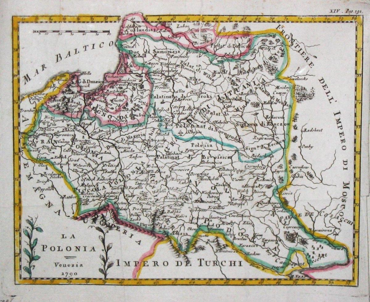 Map of Lithuania old