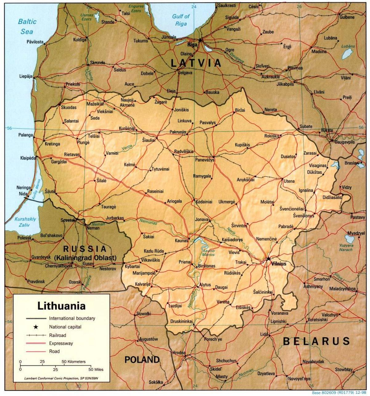 Map of  Lithuania 1900