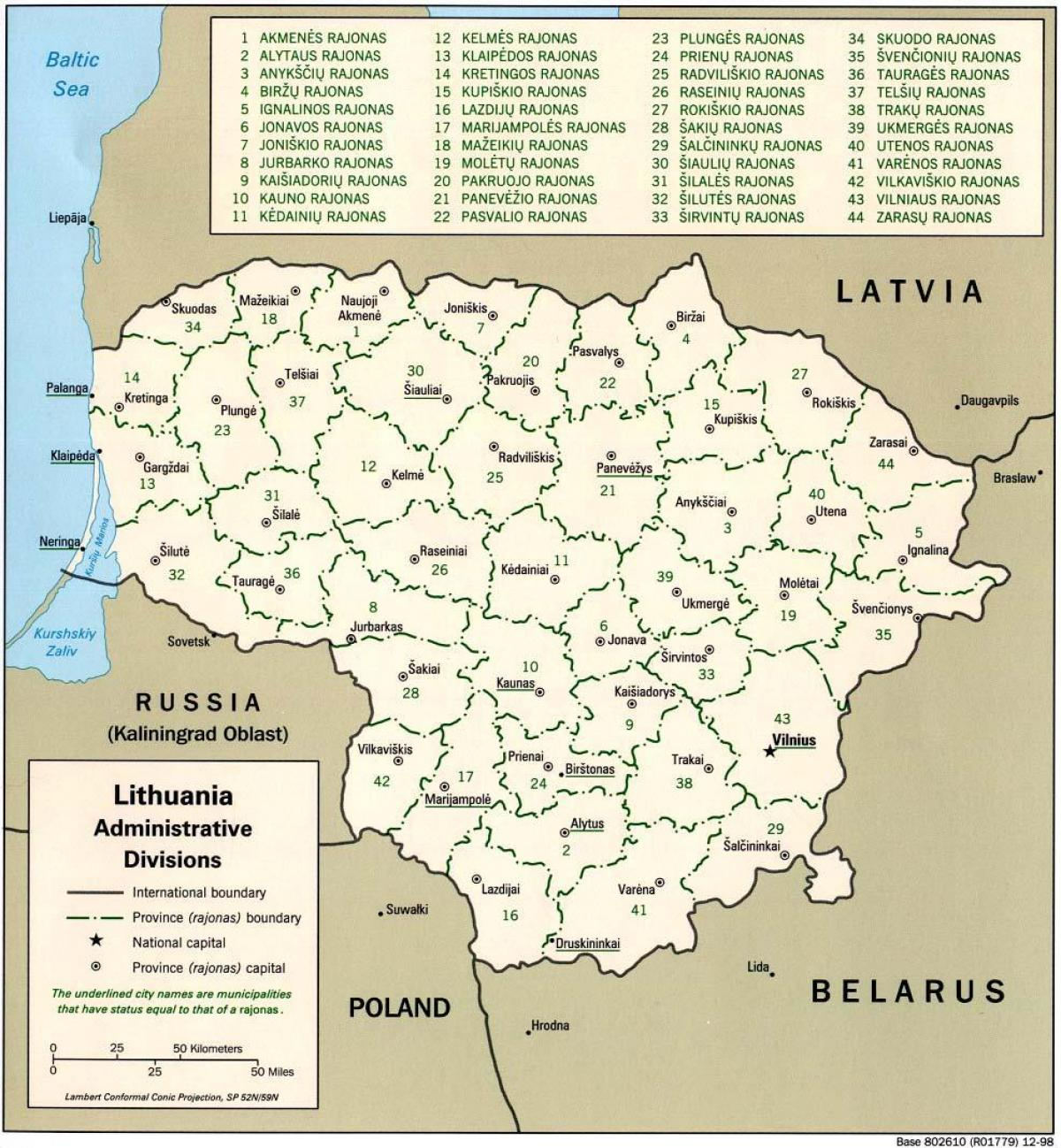 Map of map Lithuania with cities